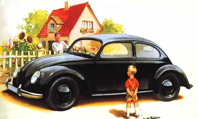 Drawing of a Beetle as shown in a 1938 VW brochure