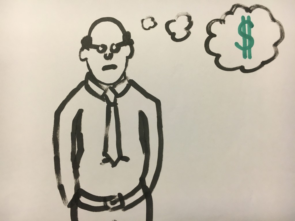 Drawing of an economist