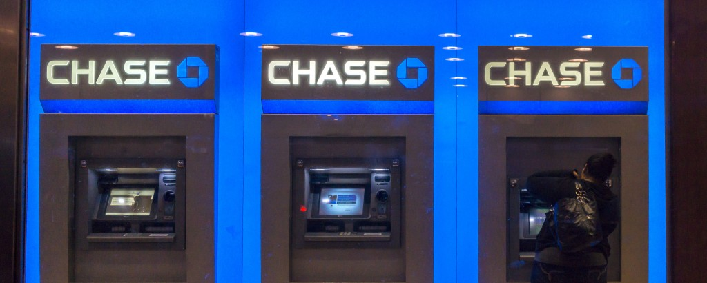 Customer uses the ATM machines at a JPMorgan Chase bank in New York