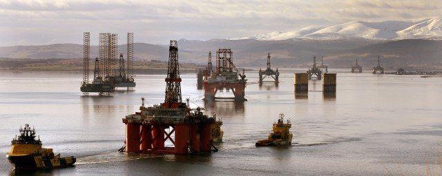 Oil platforms in the Cromarty Firth.