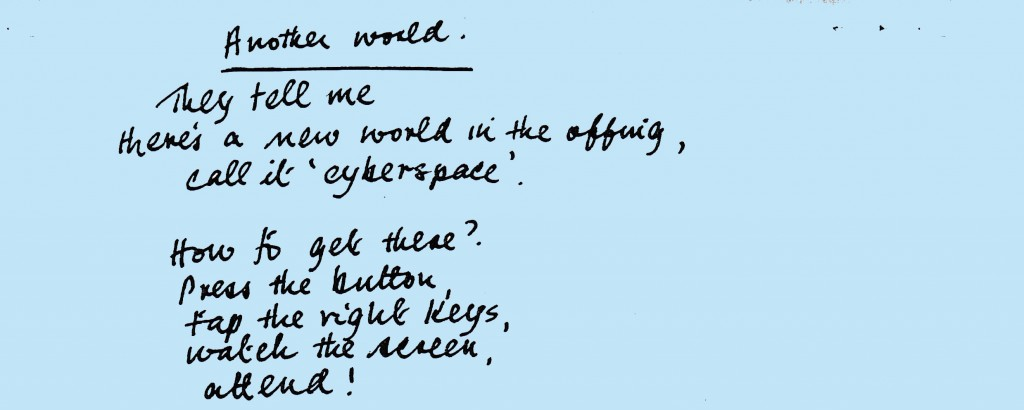 The opening stanzas from Jean McCurd's poem Another World