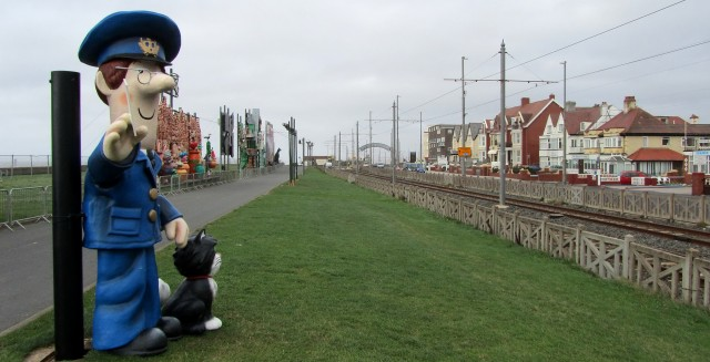 Statue of Postman Pat in Bispham, UK