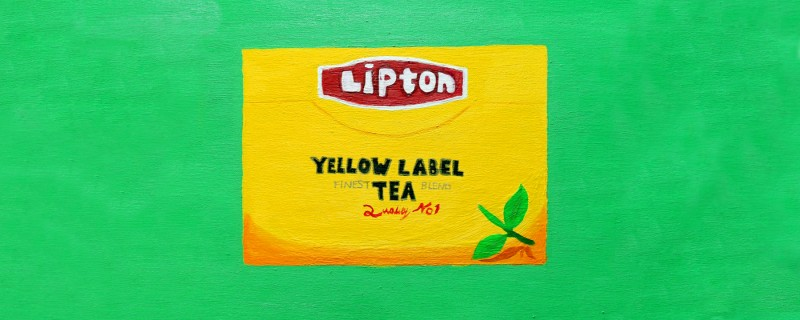 Painting on canvas of Lipton Ice Tea box with green background