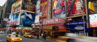 Billboards advertising Broadway shows in Times Square, in New York