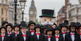 Monopoly fans dressed as the boardgame's avatar in London