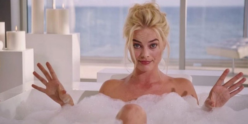 Margot Robbie sits in a bubble bath - a scene from The Big Short