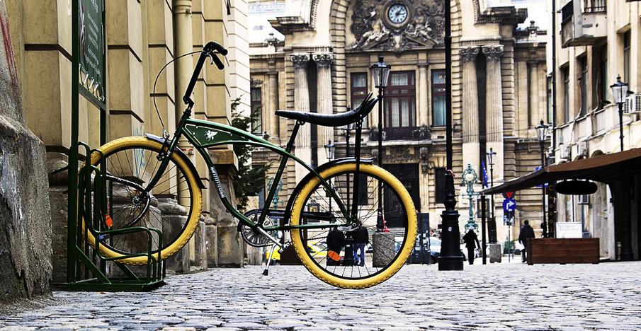 A Pegas bike in a bike rack in Bucharest