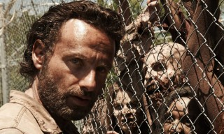 Andrew Lincoln with zombies from The Walking Dead