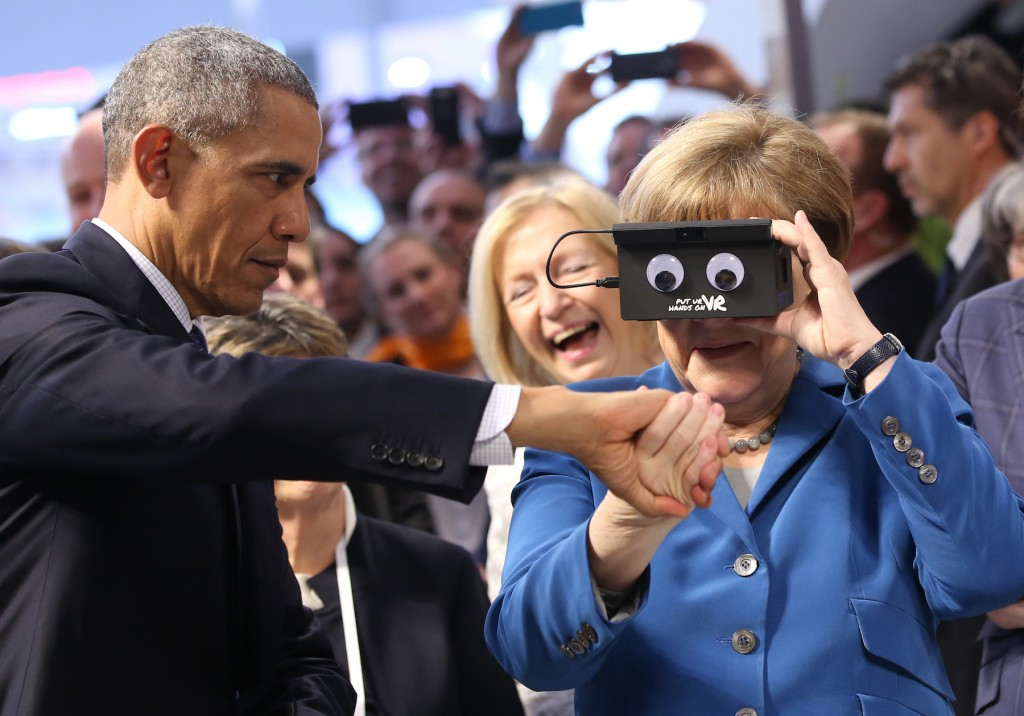 Barack Obama and Angela Merkel at a German trade fair