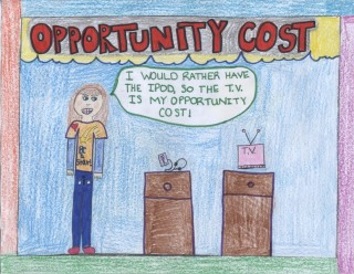 Drawing of opportunity cost in which a girl chooses between an ipod and TV