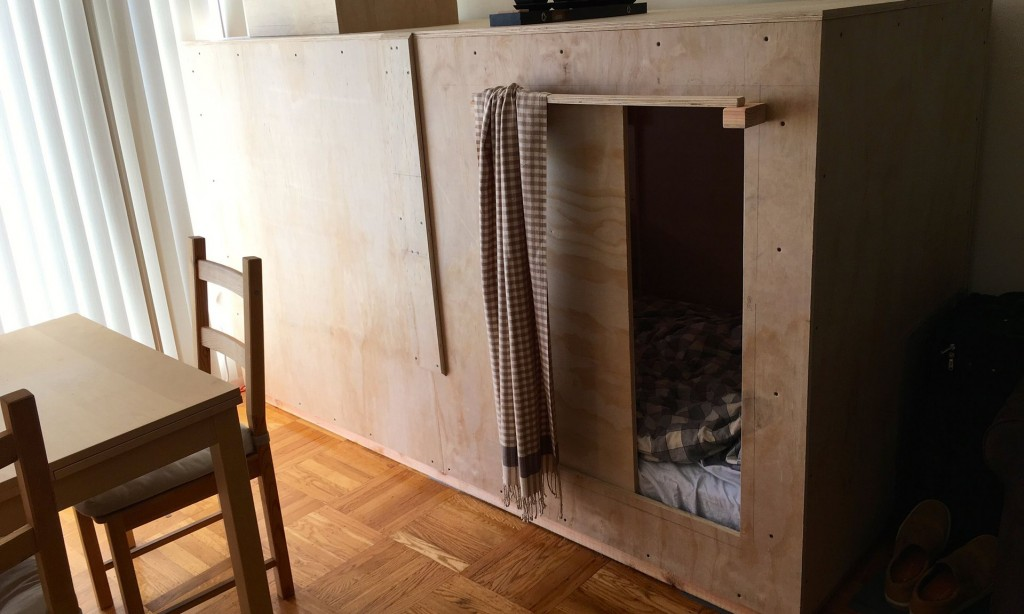 The box or pod that Peter Berkowitz pays $400 a month to live in in San Francisco