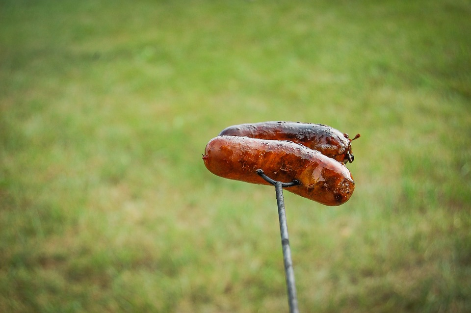 Two sausages on a skewer