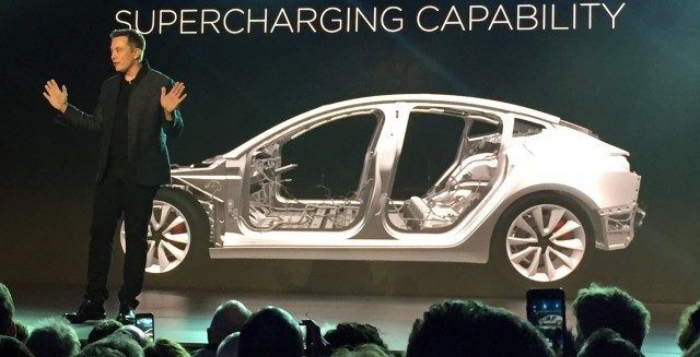 Tesla CEO Elon Musk speaks at the unveiling of the Model 3