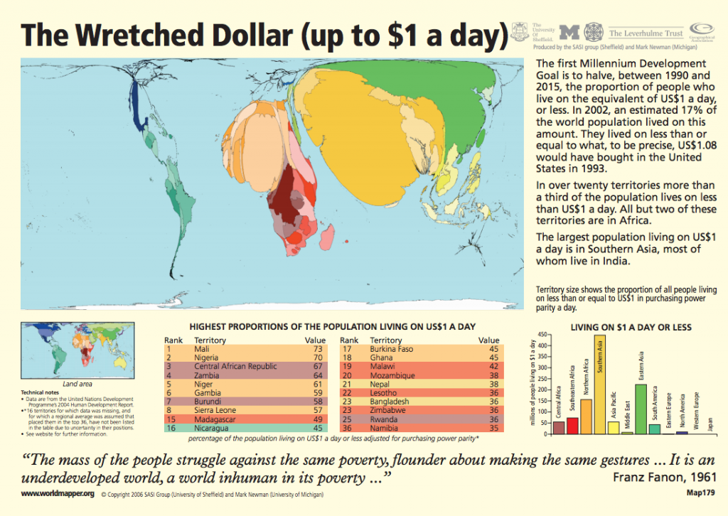 Map showing the world as defined by those living on less than a dollar a day