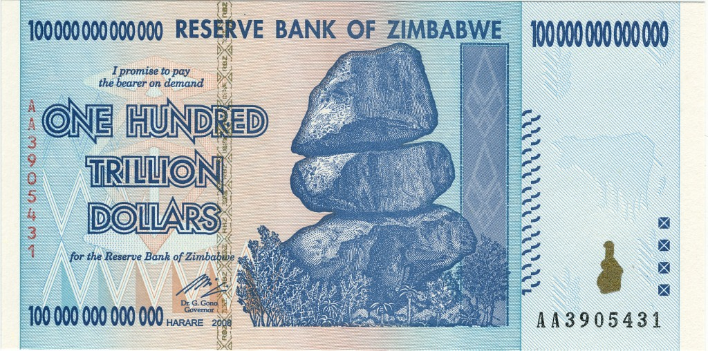 A $100 trillion note from Zimbabwe