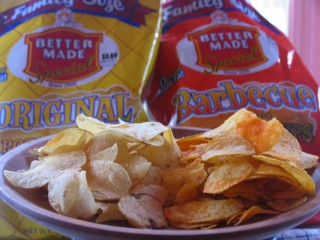 A bowl of Better Made Chips