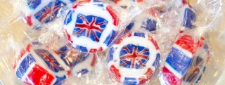 Union Jack themed sweets offered in a Brexit event in London.