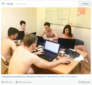 Naked office workers in Belarus