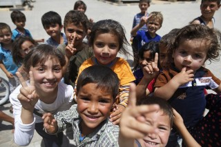 A group of refugee children in Turkey