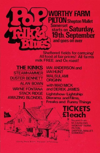 Poster for the first Glastonbury Festival in 1970
