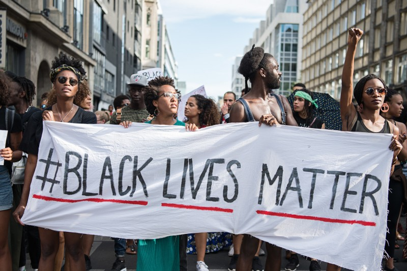 Black Lives Matter activists protest in Berlin.