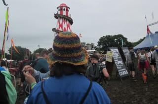 A Glastonbury festival-goer