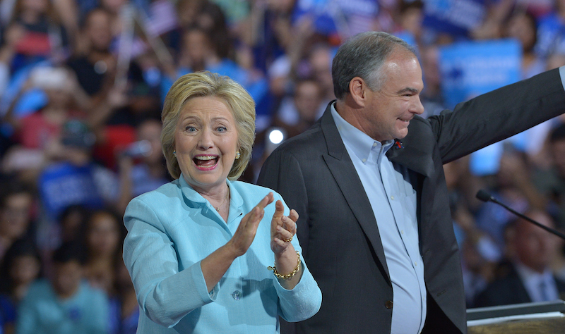 Hillary Clinton and Tim Kaine at a rally in Miami