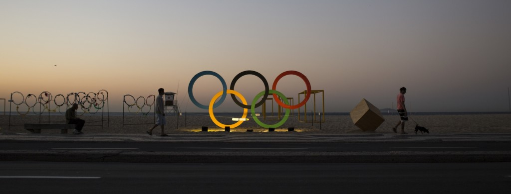 A sculpture of the Olympic rings in Rio