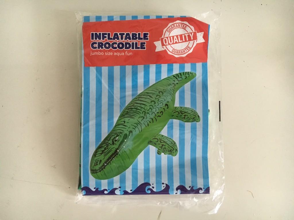 An inflatable crocodile