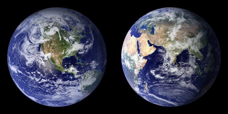 Two planet Earths, side by side