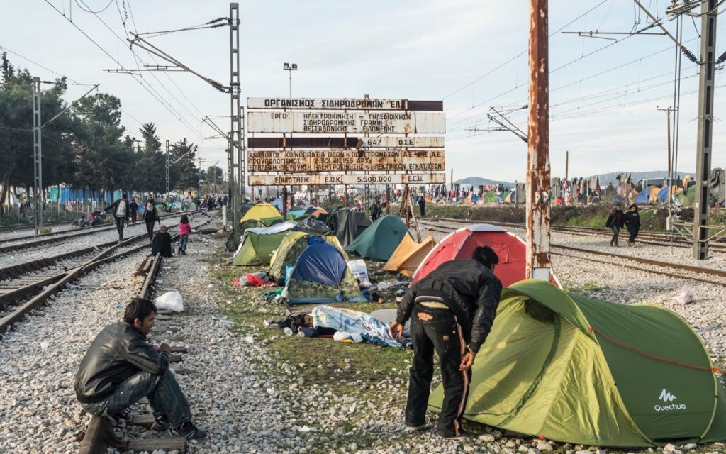 Migrants' tents pitched near the railway line in Idomeni