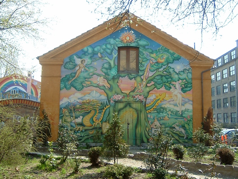 A mural on a building in Christiania