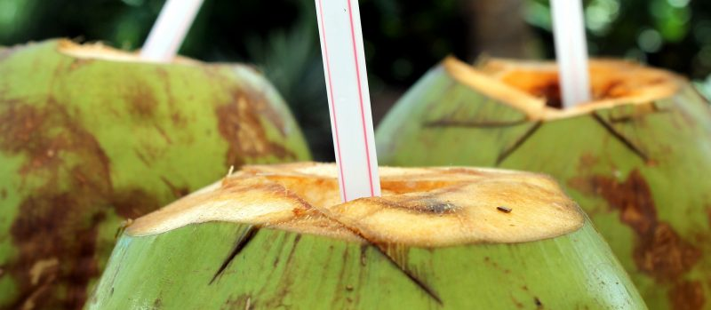 Young coconuts with straws