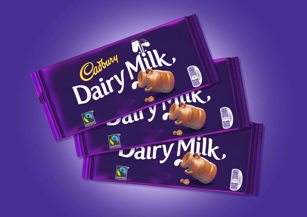 Three bars of Dairy Milk chocolate