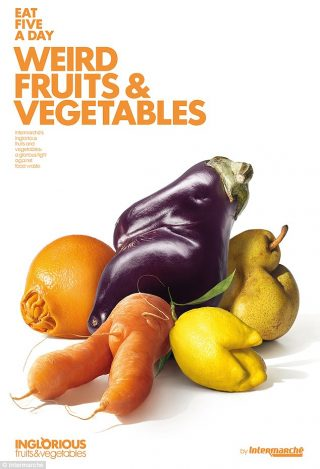 A poster for Intermarche's ugly fruit and veg campaign