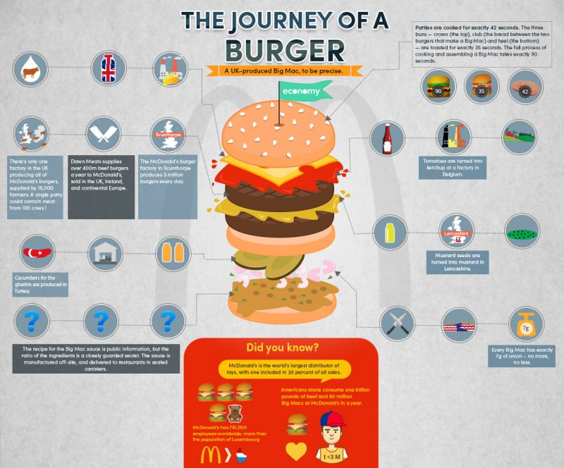 An infographic showing the journey of a typical burger in the UK