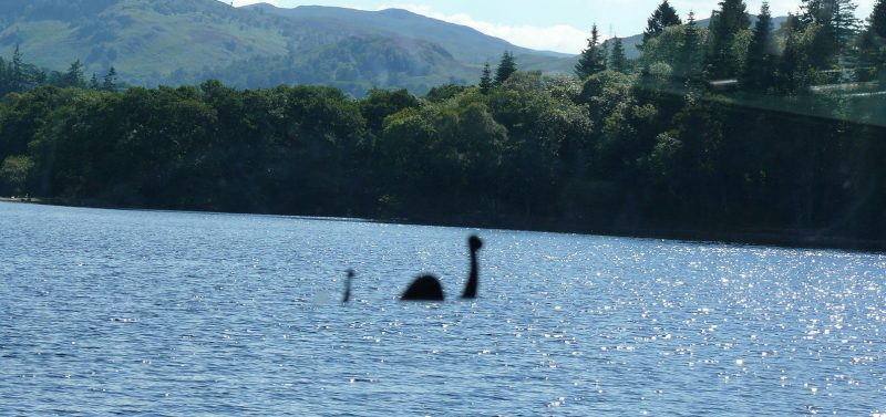A suspected sighting of the Loch Ness Monster