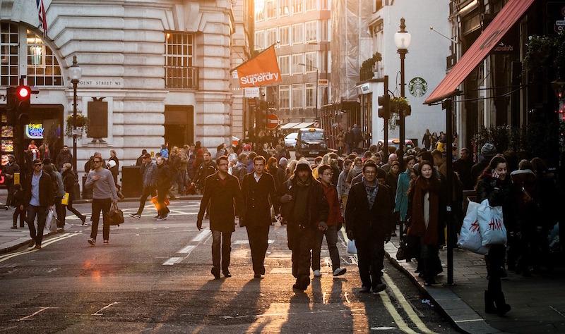 People walking on a London street