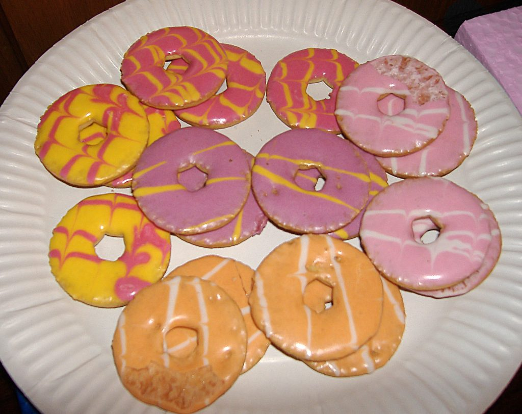 A paper plate covered in Party Rings