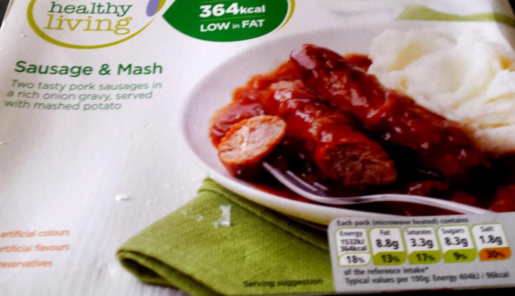 A sausage and mash ready meal