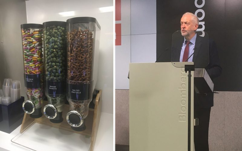 A sweet dispenser and Jeremy Corbyn
