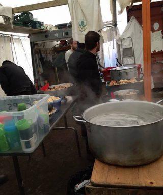 A refugee camp kitchen