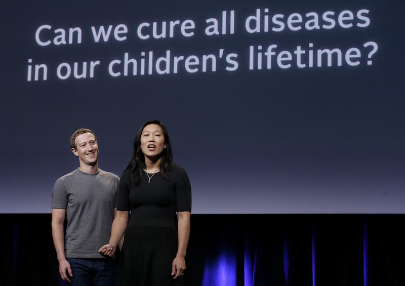 CEO Mark Zuckerberg, left, and his wife, Priscilla Chan
