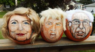 Pumpkins with the faces of Hillary Clinton, Donald Trump and Bernie Sanders