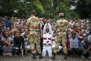 Soldiers blocking Protests in Ethiopia, October 2016.
