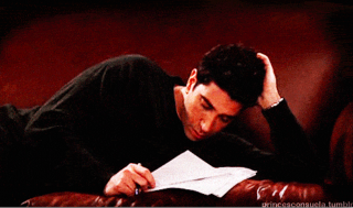 Ross from Friends falling asleep.