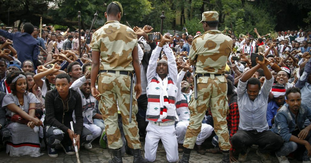 Ethiopian soldiers try to stop protesters in Ethiopia