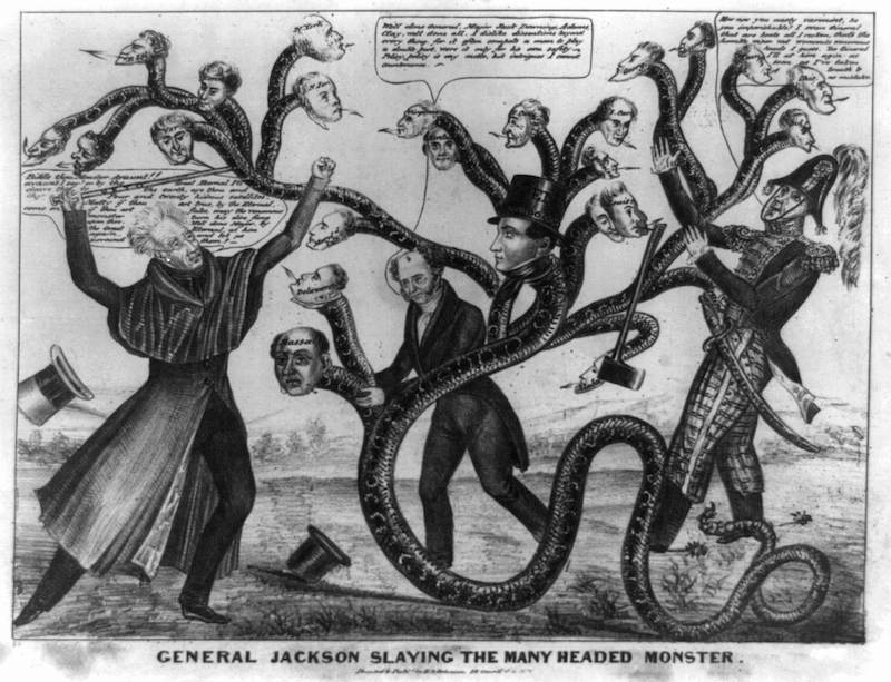 Andrew Jackson fighting a hydra