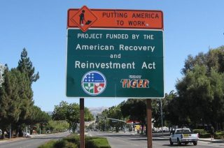 A sign promoting the Recovery Act