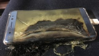 A damaged Samsung Galaxy 7 phone following its battery catching fire